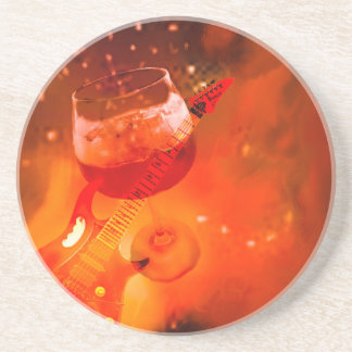 Wine and music are essential in our celebration. coaster