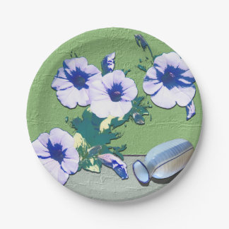 Wine and Petunia Flowers Paper Plate