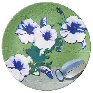 Wine and Petunia Flowers Plate