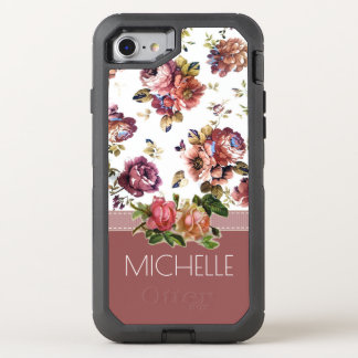 Wine and Roses with Name OtterBox Defender iPhone 7 Case