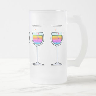 WINE ART FROSTED STEIN FROSTED GLASS MUG