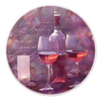 Wine at the beach ceramic knob