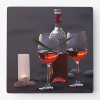 wine at the beach square wall clock