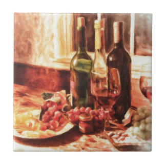 Wine At The Table by Shawna Mac Ceramic Tiles