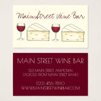 Wine Bar Restaurant Winery Red Glass Brie Cheese Business Card