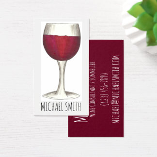Wine Bar Restaurant Winery Red Glass Sommelier Business Card