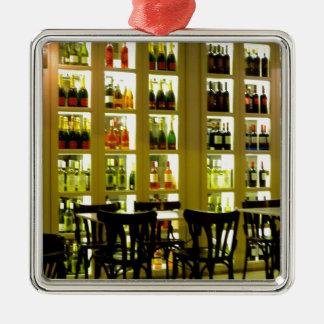Wine Bar Silver-Colored Square Ornament