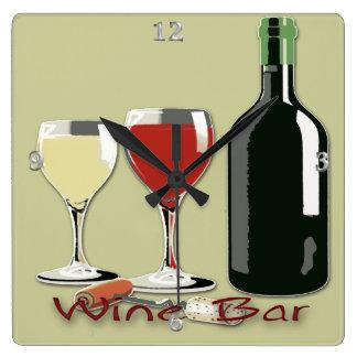 Wine Bar - Wine Square Wall Clock