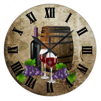 Wine Barrel and Glasses Large Clock