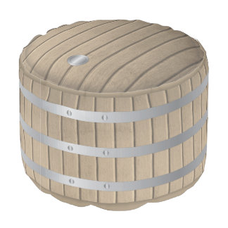Wine barrel and steel pouf