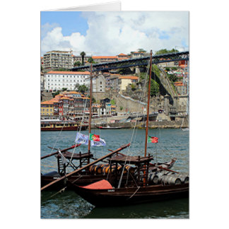 Wine barrel boats, Porto, Portugal Card