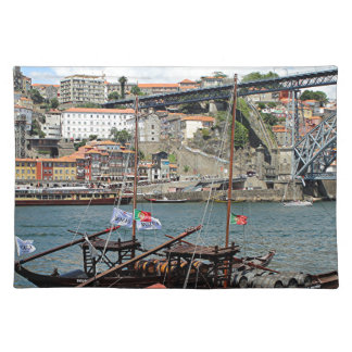 Wine barrel boats, Porto, Portugal Placemat