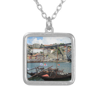 Wine barrel boats, Porto, Portugal Silver Plated Necklace