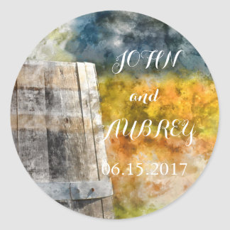 Wine Barrel Destination Wedding Save the Date Classic Round Sticker