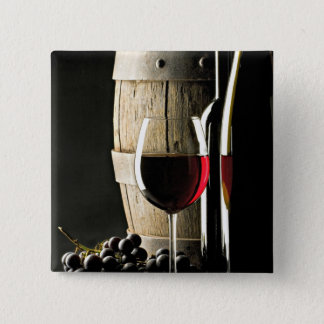 Wine Barrel, Grapes, and Glass 2 Inch Square Button