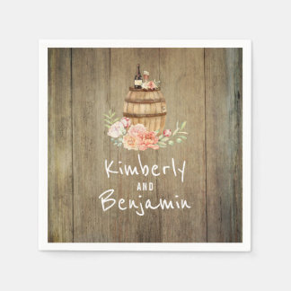 Wine Barrel Rustic Floral Wood Wedding Paper Napkin