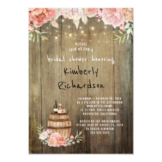 Wine Barrel Rustic String Lights Bridal Shower Invitation