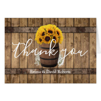 Wine Barrel & Sunflowers Rustic Wedding Thank You Card