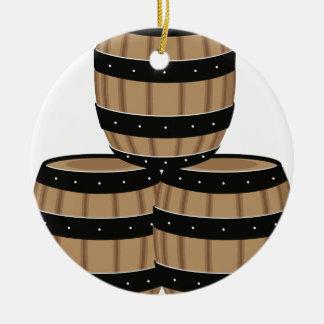 Wine Barrels Ceramic Ornament