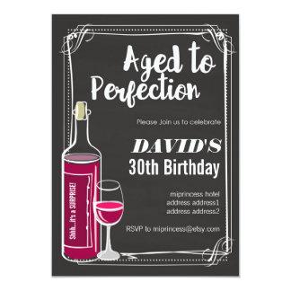 "Wine birthday invitation, Aged to Perfection 5"" X 7"" Invitation Card"