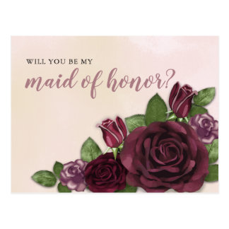 Wine Blush Mauve Floral Maid of Honor Request Postcard