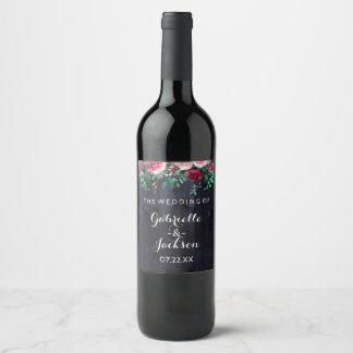 Wine Blush & Navy Wood Burgundy Wedding Monogram Wine Label