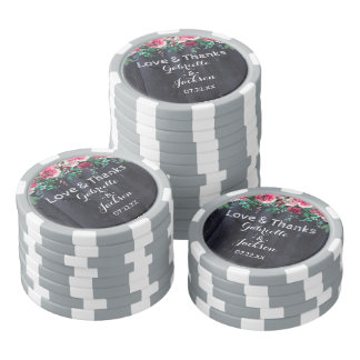 Wine Blush & Navy Wood Burgundy Wedding Thank You Poker Chips