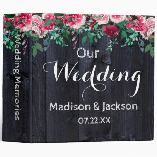 Wine Blush Navy Wood Peony Wedding Photo Album Binders