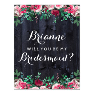 Wine Blush & Navy Wood Will You Be My Bridesmaid Card