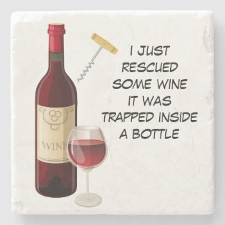 Wine bottle and glass illustration stone coaster