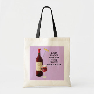Wine bottle and glass illustration tote bag