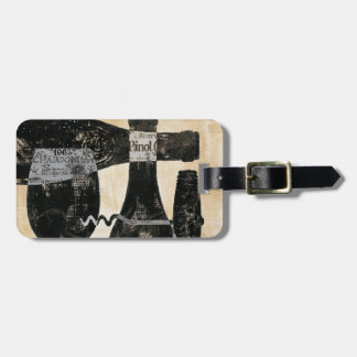 Wine Bottle and Glass Luggage Tag