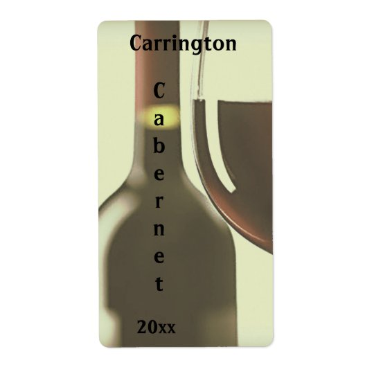 Wine Bottle and Glass Wine Label