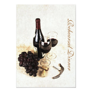 Wine bottle and grapes - Rehearsal dinner Card