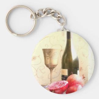 Wine Bottle And Pomegranates Keychain