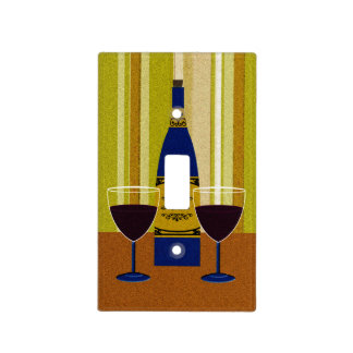 Wine Bottle And Wine Glasses Light Switch Cover
