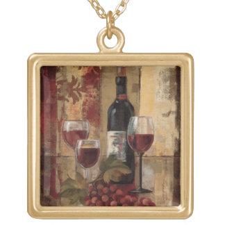Wine Bottle and Wine Glasses Square Pendant Necklace
