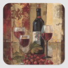 Wine Bottle and Wine Glasses Square Sticker