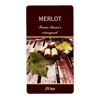 Wine bottle corks and grape leaf bottle label shipping label