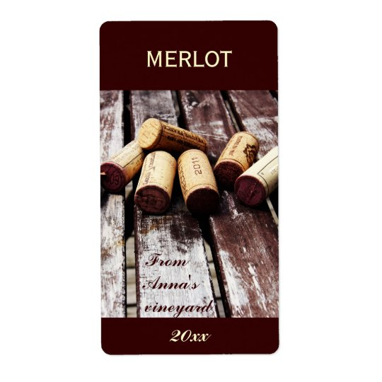 Wine bottle corks bottle label