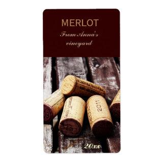 Wine bottle corks bottle label shipping label