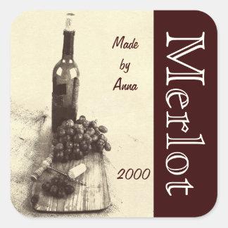 Wine bottle, corks, corkscrew and grapes square sticker