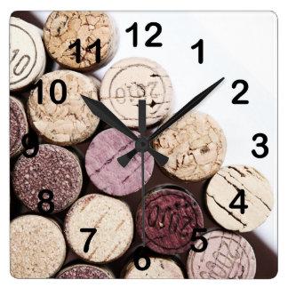 Wine bottle corks square wall clock