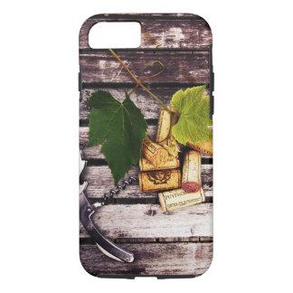 Wine bottle corkscrew, grape leaf and corks iPhone 7 case