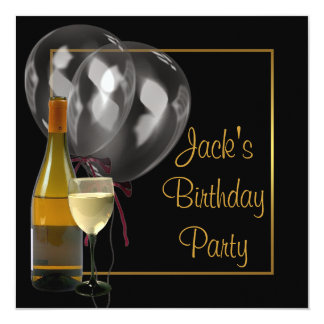 Wine Bottle Glass Gold Black Mens Birthday Party Card