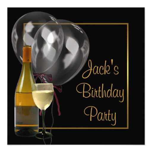 Wine Bottle Glass Gold Black Mens Birthday Party Custom Announcements