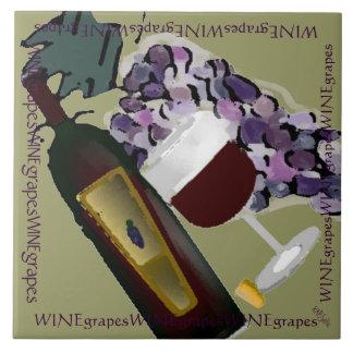 Wine Bottle n Grapes M Tile