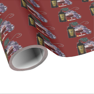 Wine Bottle n Grapes Wrapping Paper
