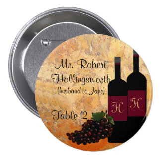 Wine Bottle Name and Table Number 3 Inch Round Button