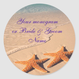 Wine Bottle or Beer Labels Starfish Beach Wedding Round Sticker